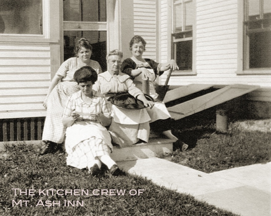 Celeste Taintor (in mid) Ernestine Crockett, the cook, w/ rolling pins now WoodenBoat dormitory