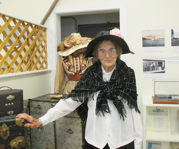 June Eaton greets visitors this summer during the area's Touring Through Time progam. BKS's new exhibit Steamboats on Eggemoggin Reach will be open again this spring.